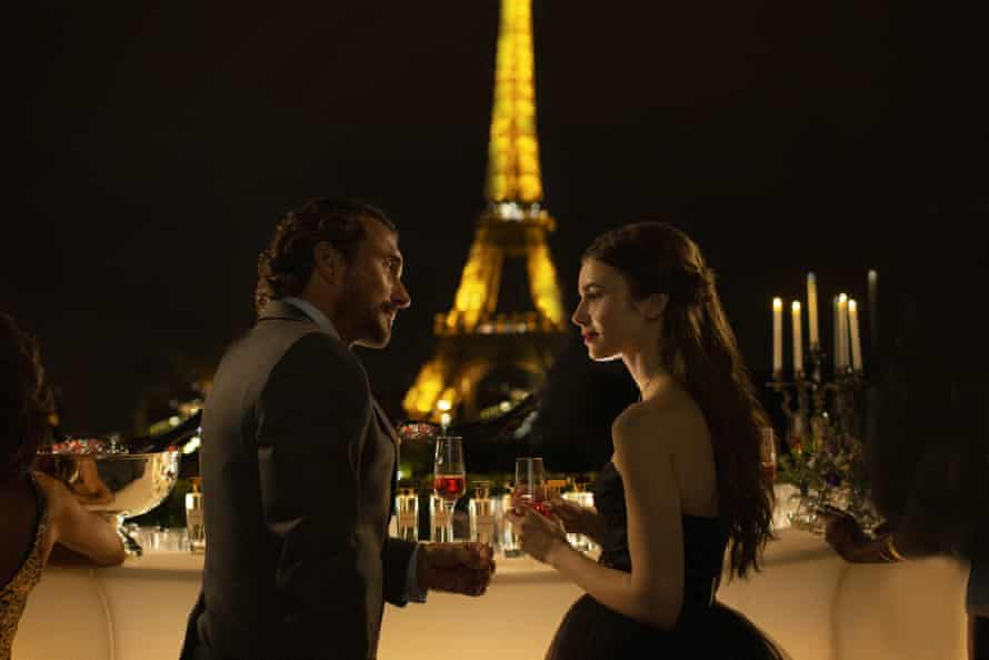 William Abadie and Lily Collins in Emily in Paris.