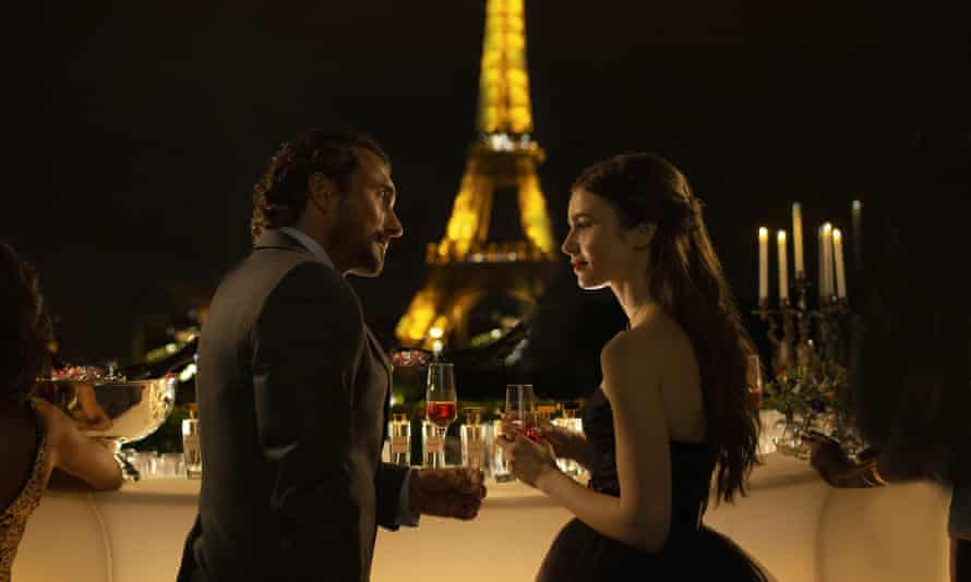 William Abadie, left, and Lily Collins in Netflix's Emily in Paris, which, said one French reviewer, 'reduces the capital's inhabitants to vile snobs'.