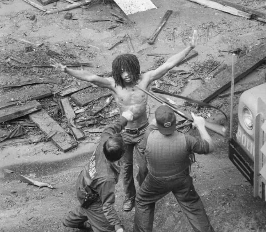 The arrest of Delbert Africa of MOVE on 8 August 1978.