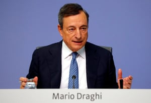 ECB President Draghi speaks during today's news conference in Frankfurt.