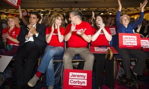 Supporters of Jeremy Corbyn at a rally in London last month: 'It looks like white-haired democratic socialists also attract supporters from Generation X.'