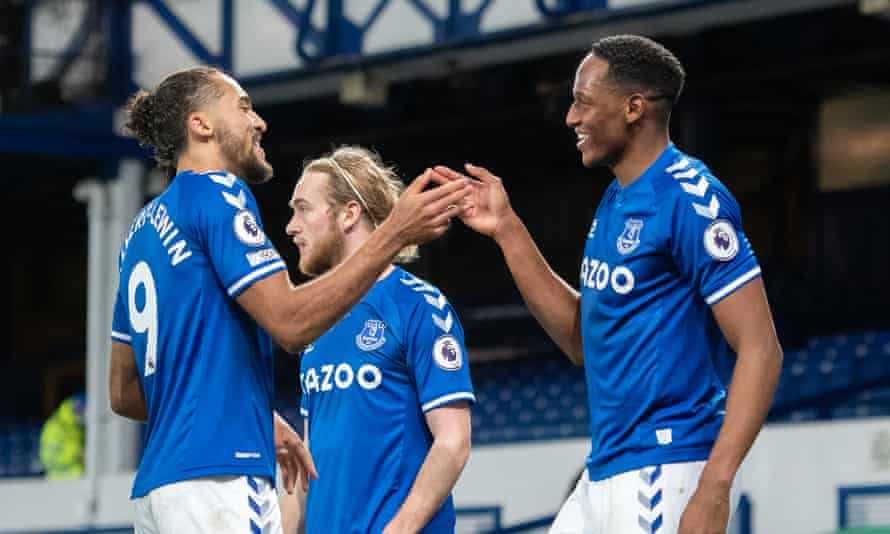 Everton's Yerry Mina celebrates the winning goal with Dominic Calvert-Lewin against Arsenal at Goodison Park