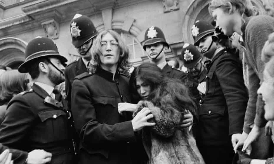 John Lennon and Yoko Ono leave Marylebone magistrates' court