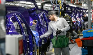 A worker on the Nissan assembly line in Sunderland