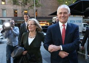Malcolm Turnbull and Lucy Turnbull after the prime minister's final press conference before election day.