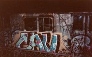 Graffiti on  subway carriage
