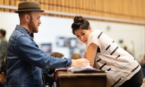 Musical director Liam Robinson and Rachel Chavkin in rehearsal for Hadestown at the National.