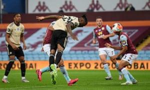 Aaron Wan-Bissaka of Manchester United heads wide.