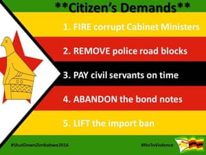 A list of citizen's demands shared with the Guardian.