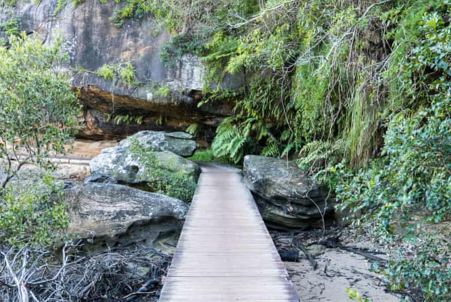 Wooden Boardwalk along the Spit Bridge to Manly Coastal Walk, Sydney, Australia