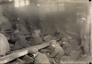 Pennsylvania coal breakers (breaker boys), 1912Breaker boys would separate impurities from coal by hand. 'There is work that profits children, and there is work that brings profit only to employers. The object of employing children is not to train them, but to get high profits from their work,' said Lewis Hine