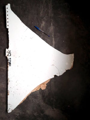 The 'no step' debris found by Blaine Gibson in Mozambique, later confirmed to be a horizontal stabiliser panel segment from the right-hand tail of MH370.