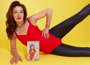 Zoe Williams doing a Cindy Crawford workout video