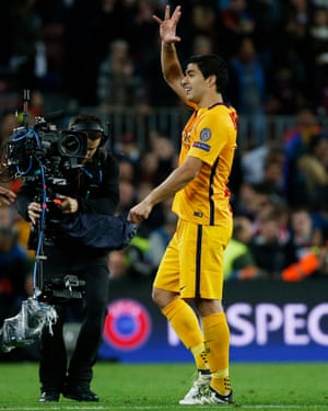 Suárez celebrates after the game.