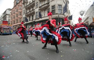 Can-Can performers take part in the London New Year's Day Paradee