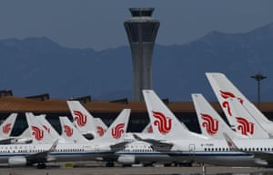 Air China planes on the tarmac at Beijing capital airport.