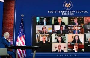 Joe Biden and Kamala Harris (not shown) speak virtually with the Covid-19 Advisory Council in Wilmington, Delaware, on 9 November.