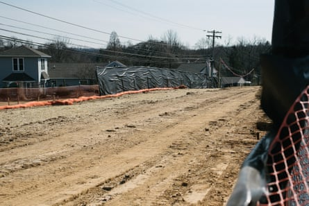 An inactive work site for the Mariner East pipelines sits empty near the Chester County Library in Exton, PA. this past February.