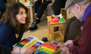 Camerata musician Amina Cunningham works with dementia patients at Acacia Lodge Care Home in New Moston, Manchester.