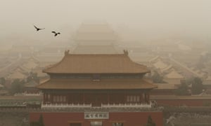 Tiananmen Square in a sandstorm in Beijing, China.