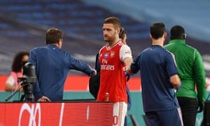 Shkodran Mustafi injured his hamstring in Arsenal's win over Manchester City in FA Cup semi-final.