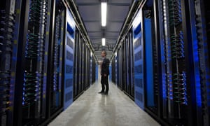 The data server hall at Facebook's storage center near in Lulea, Sweden. Data centers currently consume 200 terawatt hours per year – roughly the same amount as South Africa.