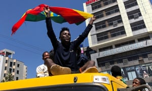 Supporters of Abiy Ahmed's government rally in the streets of Addis Ababa.