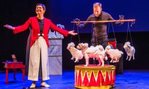 Isabella Rossellini and her dog Pan in Link Link at the Queen Elizabeth Hall, Southbank Centre, London.