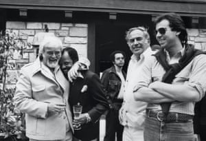 Barney Ales and Berry Gordy with music merchants Milt and John Salstone during a part at Gordy's home in Los Angeles, March 1977. Courtesy of Barney Ales