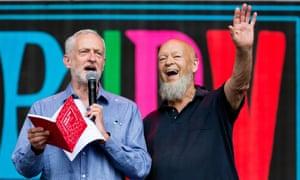Jeremy Corbyn with the Glastonbury festival founder, Michael Eavis