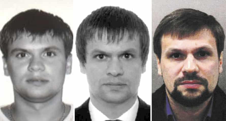 Anatoliy Chepiga's 2003 passport photo; Ruslan Boshirov's 2009 passport photo; Ruslan Boshirov, in a Metropolitan Police photo