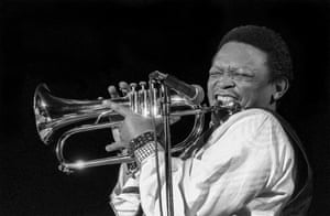 Masekela plays flugelhorn during a performance at the Manhattan Center, New York, March 1994