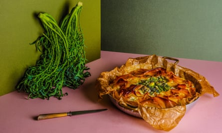 Anna Jones' Double greens and filo pie Chosen by Stanley Tucci The Dish I Can't Live Without Food and prop styling: Polly Webb Wilson Observer Food Monthly OFM January 2018