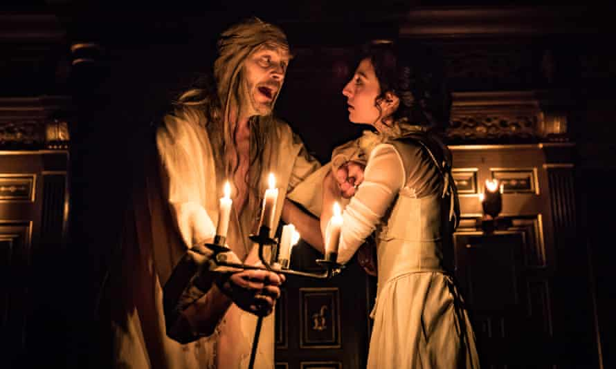 Nigel Cooke as the King of France and Ellora Torchia as Helena in All's Well That Ends Well, at the Sam Wanamaker Playhouse