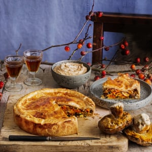 Bruno Loubet's mushrooms, kimchi and sweet potato pie, miso sour cream.