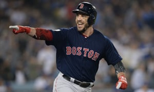 Steve Pearce celebrates his home run in the eighth inning as the Red Sox cruise to victory