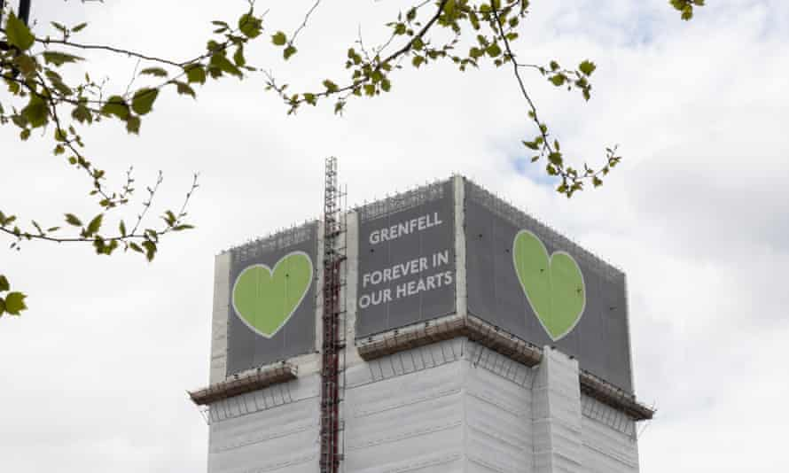 Grenfell Tower covered in a protective wrapping