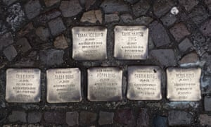 A set of Stolpersteine in Berlin commemorating one family.