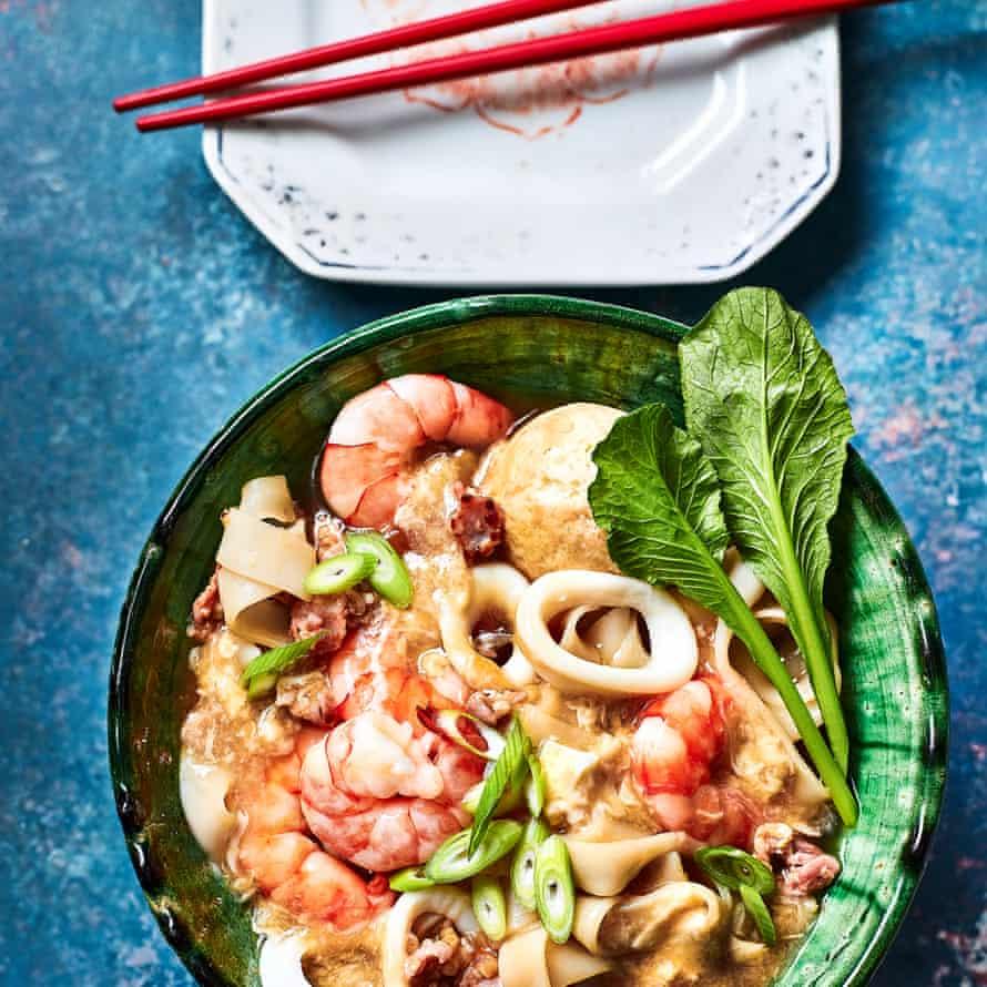 Seafood ho fun in egg gravy by Lizzie Mabbott.