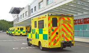 Ambulance arriving at UK Hospital Accident and Emergency department.