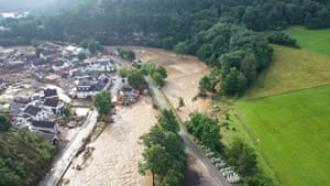 Devastation caused by the flooding of the Ahr River in the village of Schuld, west Germany. At least eight people have died and dozens of people are missing in Germany after heavy flooding turned streams and streets into raging torrents, sweeping away cars and causing some buildings to collapse