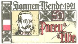 A 50 pfennig Notgeld note showing Paul von Hindenburg