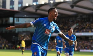 Joshua King celebrates scoring Bournemouth's second goal moments after coming on as a second-half substitute.