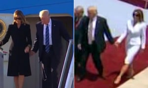 Melania Trump twice brushes off Donald Trump's attempt to hold her hand, at Rome airport and Ben Gurion airport in Israel.