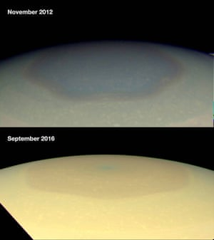 Images of Saturn's polar hexagon show a colour change from 2012 to 2016.