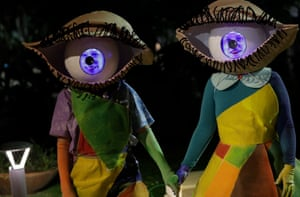 The artists Sharon Gombosh and Meytal Jelinek perform during a fringe theatre festival in Acre, Israel