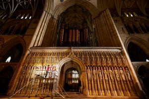 York, England. The two-year-long restoration of the grand organ, containing 5000 pipes ranging from the size of a pencil to 10m long, enters its final phase at York Minster