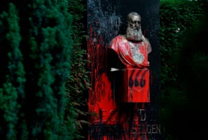 Statue covered in red paint