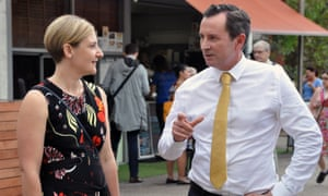 Western Australia's opposition leader, Mark McGowan, with Labor's candidate for the seat of Morley, Amber-Jade Sanderson, campaigning in Perth on Thursday