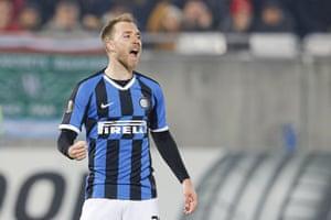 Inter Milan's Christian Eriksen celebrates after scoring his side's first goal.